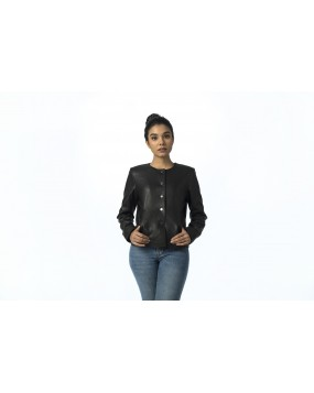 LG 10 Ladies Black Round Neck Real Leather Jacket