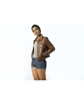 LG 3  Ladies Brown Real Leather Jacket