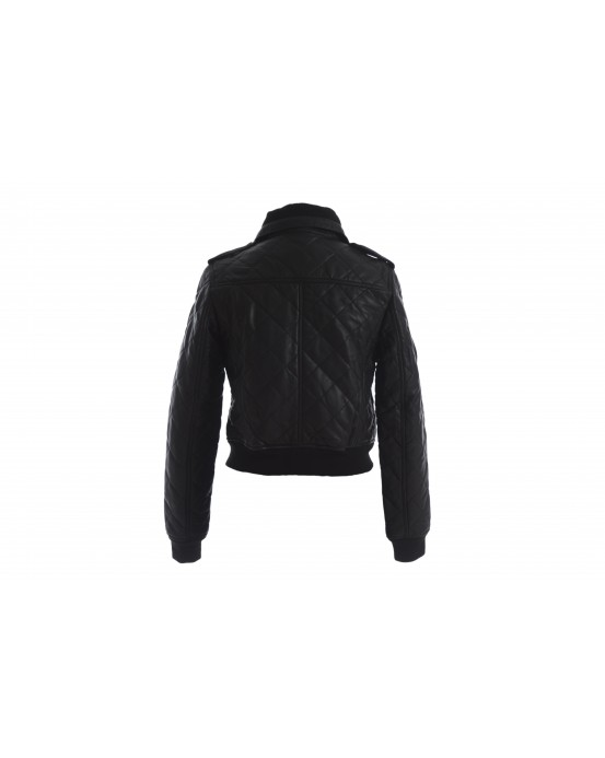 LG 6 Ladies Black quilted Real Leather Jacket