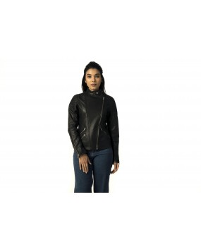LG 7 Ladies Black Biker Real Leather Jacket