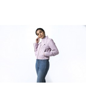 LG 12 Ladies Light Pink Real Leather Jacket