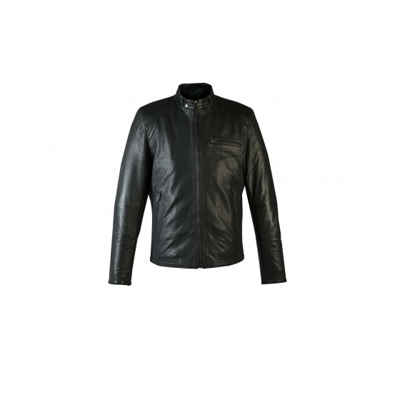 LGS Mens Black Biker Real Leather Jacket