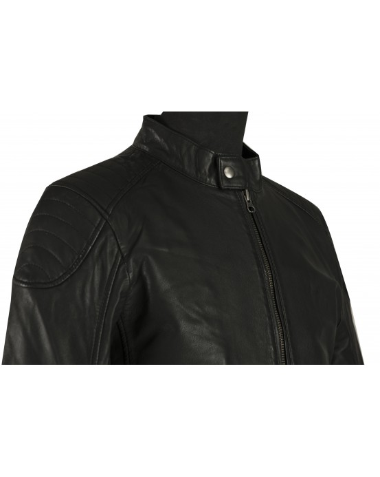LGS Mens Black Padded Real Leather Jacket