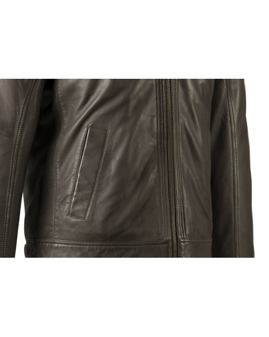 LGS Mens Brown Real Leather Jacket